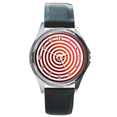 Concentric Red Rings Background Round Metal Watch