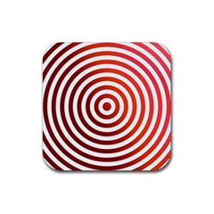 Concentric Red Rings Background Rubber Square Coaster (4 Pack)  by Nexatart