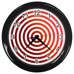 Concentric Red Rings Background Wall Clocks (black) by Nexatart