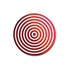 Concentric Red Rings Background Rubber Coaster (round)