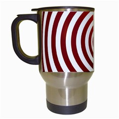 Concentric Red Rings Background Travel Mugs (white)
