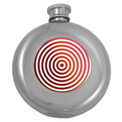 Concentric Red Rings Background Round Hip Flask (5 Oz)