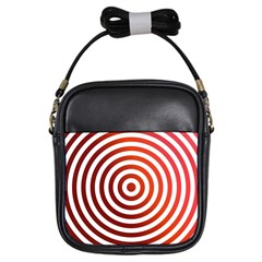 Concentric Red Rings Background Girls Sling Bags