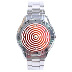 Concentric Red Rings Background Stainless Steel Analogue Watch