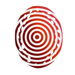 Concentric Red Rings Background Ornament (oval Filigree)