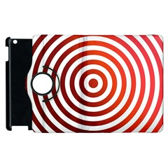 Concentric Red Rings Background Apple Ipad 2 Flip 360 Case by Nexatart