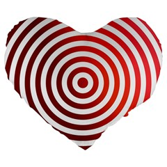 Concentric Red Rings Background Large 19  Premium Heart Shape Cushions