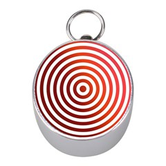 Concentric Red Rings Background Mini Silver Compasses
