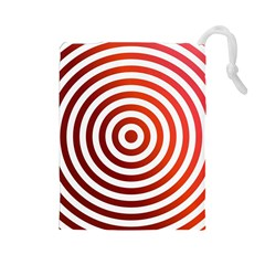 Concentric Red Rings Background Drawstring Pouches (large)