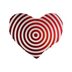 Concentric Red Rings Background Standard 16  Premium Flano Heart Shape Cushions by Nexatart