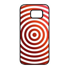 Concentric Red Rings Background Samsung Galaxy S7 Edge Black Seamless Case by Nexatart