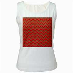 Background Retro Red Zigzag Women s White Tank Top