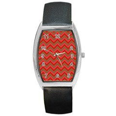 Background Retro Red Zigzag Barrel Style Metal Watch