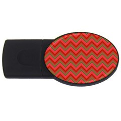 Background Retro Red Zigzag Usb Flash Drive Oval (4 Gb) by Nexatart