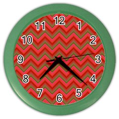 Background Retro Red Zigzag Color Wall Clocks by Nexatart