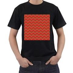 Background Retro Red Zigzag Men s T Shirt (black)