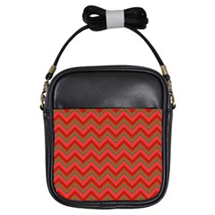 Background Retro Red Zigzag Girls Sling Bags
