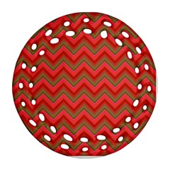 Background Retro Red Zigzag Round Filigree Ornament (two Sides) by Nexatart