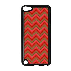 Background Retro Red Zigzag Apple Ipod Touch 5 Case (black)