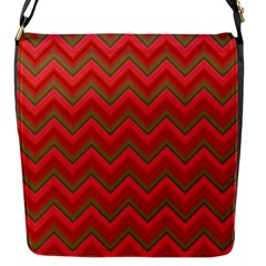 Background Retro Red Zigzag Flap Messenger Bag (s)