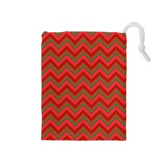 Background Retro Red Zigzag Drawstring Pouches (medium)