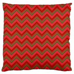 Background Retro Red Zigzag Large Flano Cushion Case (one Side)