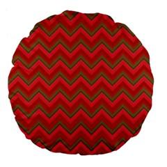 Background Retro Red Zigzag Large 18  Premium Flano Round Cushions by Nexatart