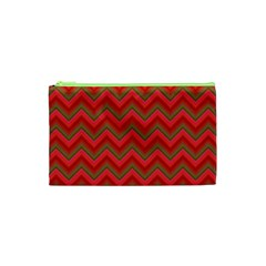 Background Retro Red Zigzag Cosmetic Bag (xs) by Nexatart