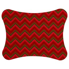 Background Retro Red Zigzag Jigsaw Puzzle Photo Stand (bow)