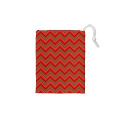 Background Retro Red Zigzag Drawstring Pouches (xs)  by Nexatart