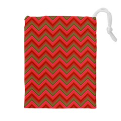 Background Retro Red Zigzag Drawstring Pouches (extra Large)