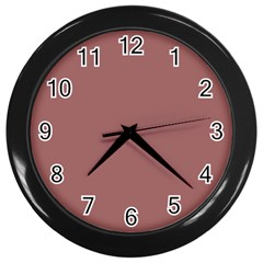 Blush Gold Coppery Pink Solid Color Wall Clocks (black) by PodArtist