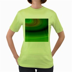 Green Background Elliptical Women s Green T Shirt