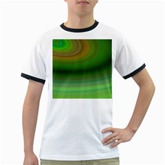 Green Background Elliptical Ringer T Shirts