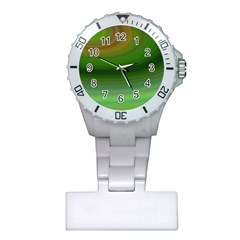Green Background Elliptical Plastic Nurses Watch