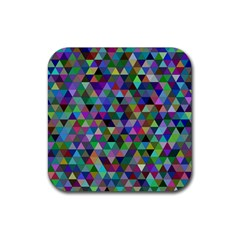 Triangle Tile Mosaic Pattern Rubber Square Coaster (4 Pack)  by Nexatart