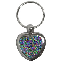 Triangle Tile Mosaic Pattern Key Chains (heart)  by Nexatart