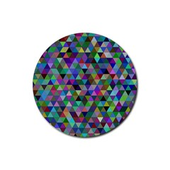 Triangle Tile Mosaic Pattern Rubber Coaster (round)
