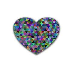 Triangle Tile Mosaic Pattern Rubber Coaster (heart)