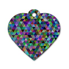Triangle Tile Mosaic Pattern Dog Tag Heart (one Side) by Nexatart