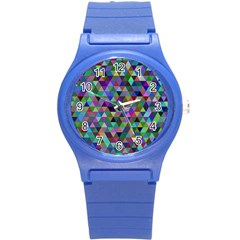 Triangle Tile Mosaic Pattern Round Plastic Sport Watch (s)