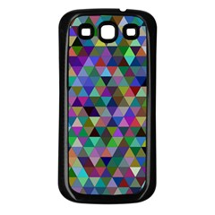Triangle Tile Mosaic Pattern Samsung Galaxy S3 Back Case (black)