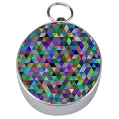 Triangle Tile Mosaic Pattern Silver Compasses by Nexatart
