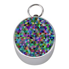 Triangle Tile Mosaic Pattern Mini Silver Compasses by Nexatart