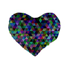 Triangle Tile Mosaic Pattern Standard 16  Premium Flano Heart Shape Cushions by Nexatart