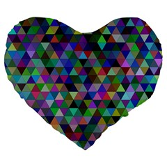 Triangle Tile Mosaic Pattern Large 19  Premium Flano Heart Shape Cushions by Nexatart