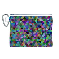 Triangle Tile Mosaic Pattern Canvas Cosmetic Bag (l) by Nexatart