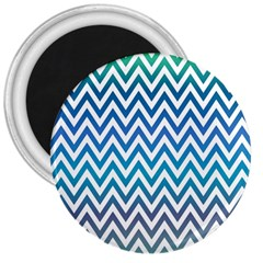 Blue Zig Zag Chevron Classic Pattern 3  Magnets