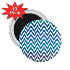 Blue Zig Zag Chevron Classic Pattern 2 25  Magnets (10 Pack)