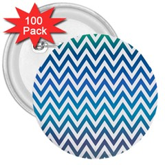 Blue Zig Zag Chevron Classic Pattern 3  Buttons (100 Pack)  by Nexatart